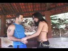 Sexy shemale gets her ass screwed outdoors