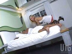 Sexy nurse Renata in mutual action
